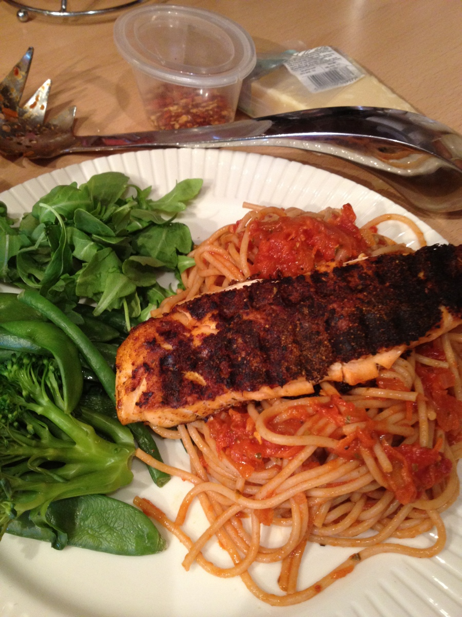 Blacked Salmon and Spicy Pasta